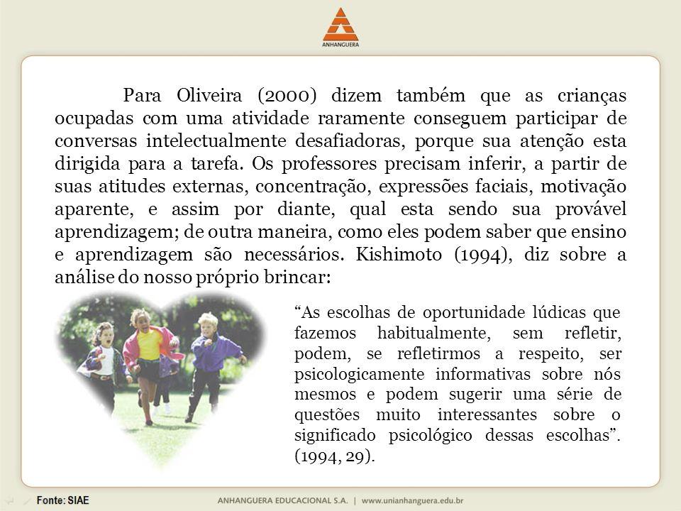 Para Oliveira (2000) dizem também que as crianças ocupadas com uma atividade raramente conseguem participar de conversas intelectualmente desafiadoras, porque sua atenção esta dirigida para a tarefa.