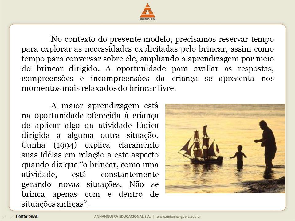 A maior aprendizagem está na oportunidade oferecida à criança de aplicar algo da atividade lúdica dirigida a alguma outra situação. Cunha (1994) expli