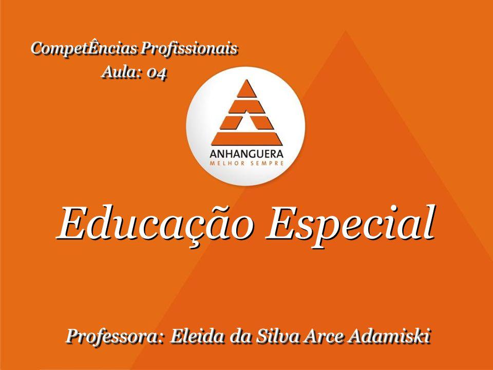 Educação Especial Professora: Eleida da Silva Arce Adamiski CompetÊncias Profissionais Aula: 04 CompetÊncias Profissionais Aula: 04