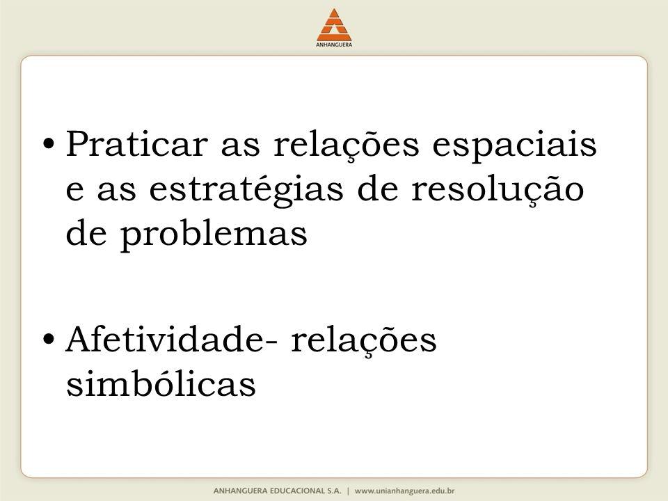 Praticar as relações espaciais e as estratégias de resolução de problemas Afetividade- relações simbólicas