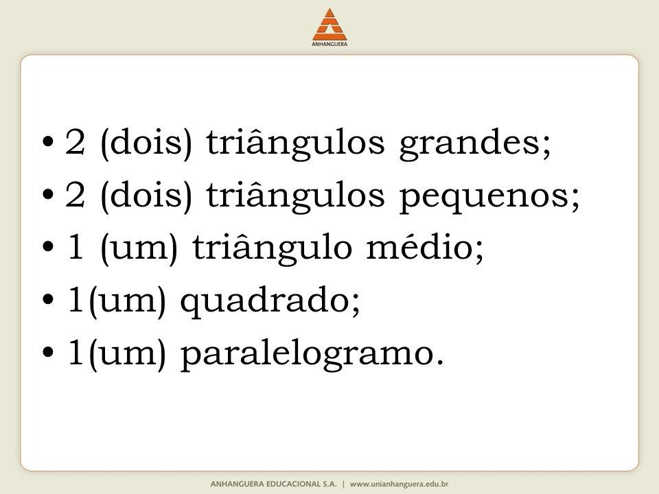 2 (dois) triângulos grandes; 2 (dois) triângulos pequenos; 1 (um) triângulo médio; 1(um) quadrado; 1(um) paralelogramo.