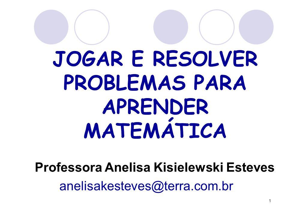 1 JOGAR E RESOLVER PROBLEMAS PARA APRENDER MATEMÁTICA Professora Anelisa Kisielewski Esteves anelisakesteves@terra.com.br