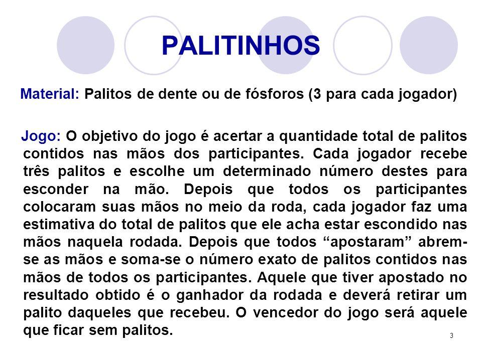 3 PALITINHOS Material: Palitos de dente ou de fósforos (3 para cada jogador) Jogo: O objetivo do jogo é acertar a quantidade total de palitos contidos