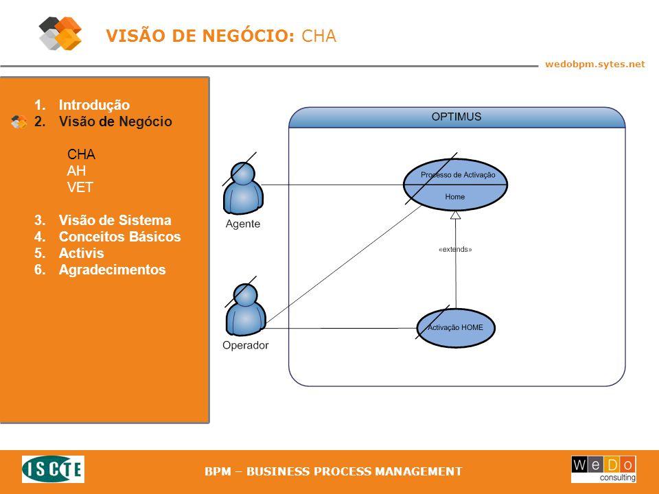 12 wedobpm.sytes.net BPM – BUSINESS PROCESS MANAGEMENT 1.Introdução 2.Visão de Negócio CHA AH VET 3.Visão de Sistema 4.Conceitos Básicos 5.Activis 6.Agradecimentos VISÃO DE NEGÓCIO: CHA