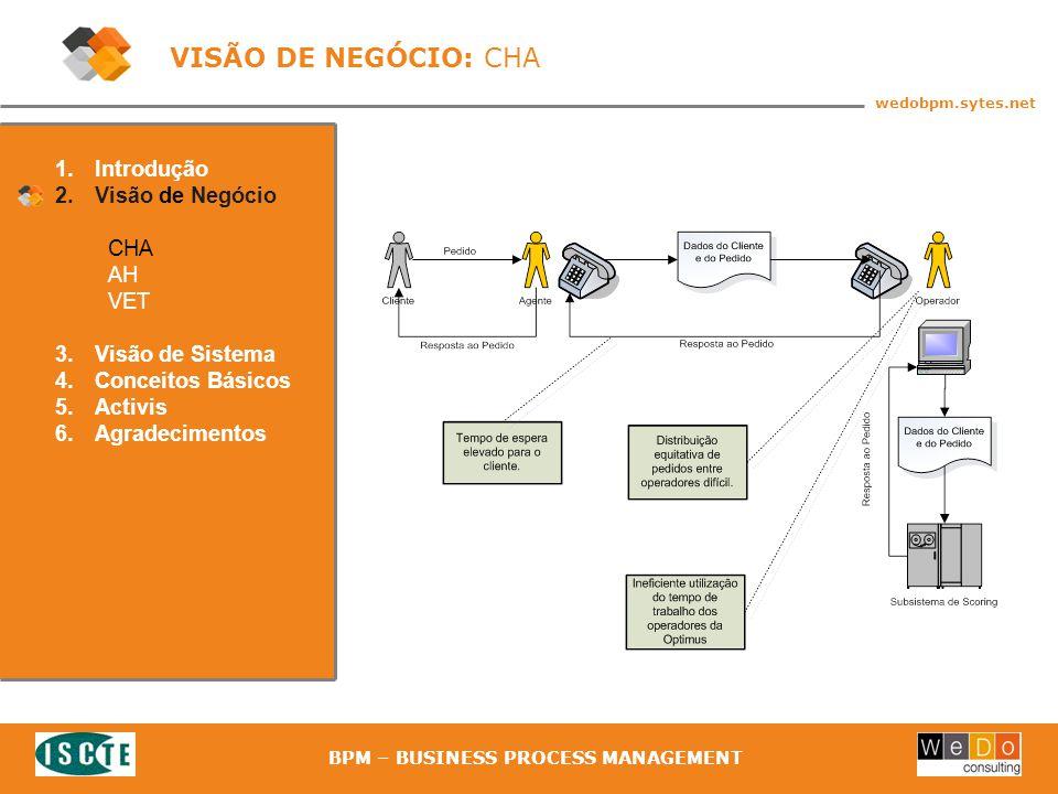 13 wedobpm.sytes.net BPM – BUSINESS PROCESS MANAGEMENT 1.Introdução 2.Visão de Negócio CHA AH VET 3.Visão de Sistema 4.Conceitos Básicos 5.Activis 6.Agradecimentos VISÃO DE NEGÓCIO: CHA
