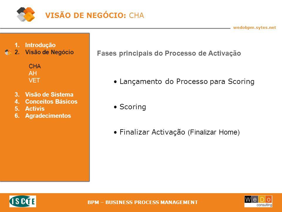 15 wedobpm.sytes.net BPM – BUSINESS PROCESS MANAGEMENT Lançamento do Processo para Scoring Scoring Finalizar Activação (Finalizar Home) 1.Introdução 2.Visão de Negócio CHA AH VET 3.Visão de Sistema 4.Conceitos Básicos 5.Activis 6.Agradecimentos VISÃO DE NEGÓCIO: CHA Fases principais do Processo de Activação