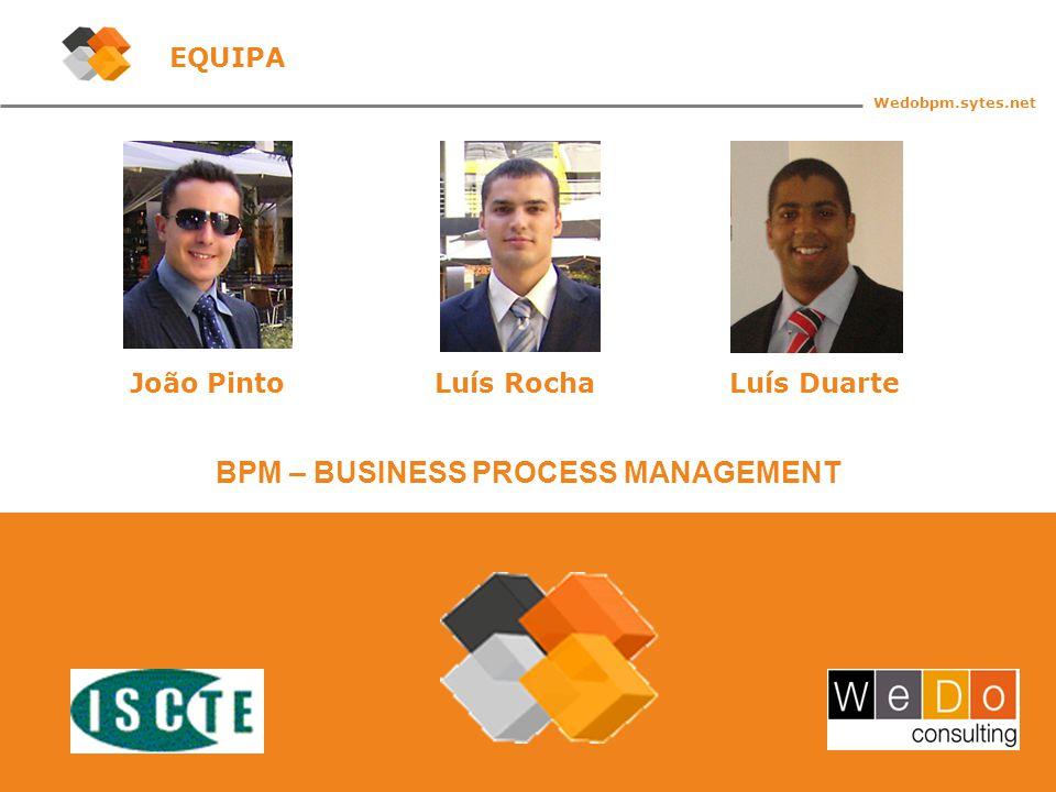 2 BPM – BUSINESS PROCESS MANAGEMENT Wedobpm.sytes.net EQUIPA João PintoLuís RochaLuís Duarte