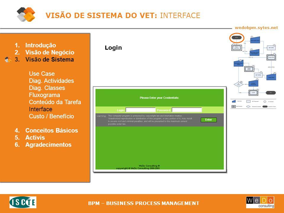 29 wedobpm.sytes.net BPM – BUSINESS PROCESS MANAGEMENT Login 1.Introdução 2.Visão de Negócio 3.Visão de Sistema Use Case Diag.