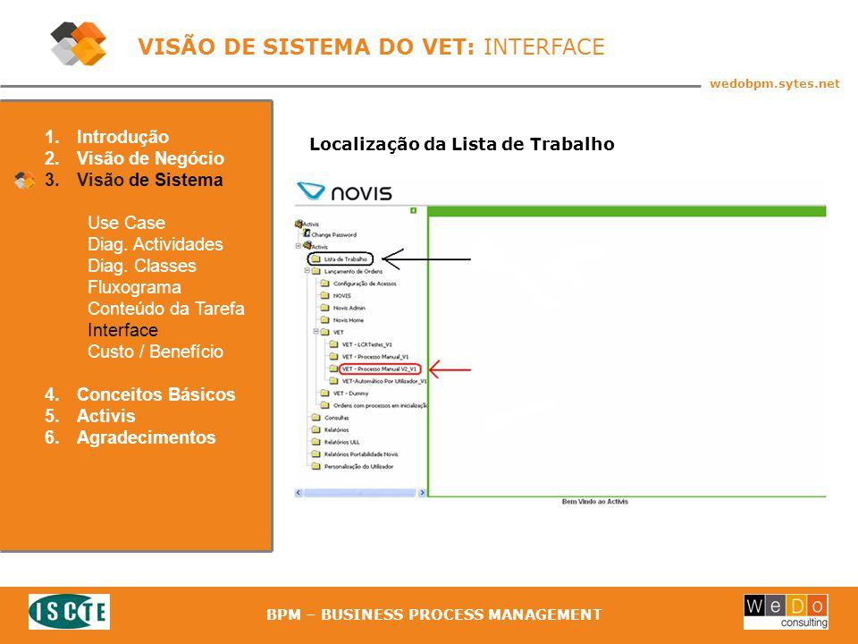 33 wedobpm.sytes.net BPM – BUSINESS PROCESS MANAGEMENT Localização da Lista de Trabalho 1.Introdução 2.Visão de Negócio 3.Visão de Sistema Use Case Diag.