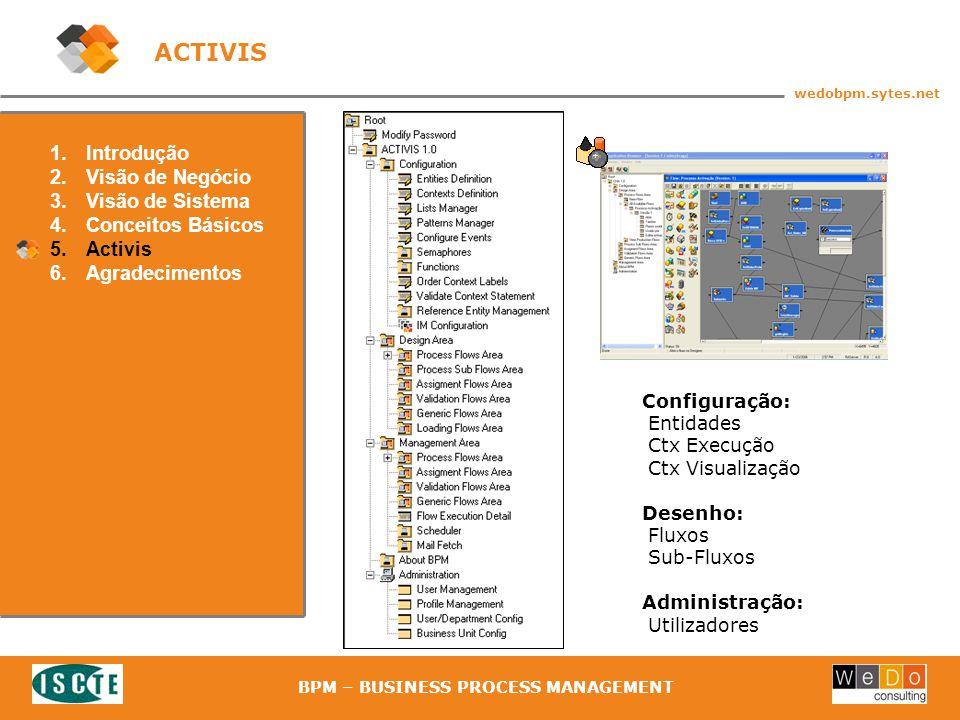 38 wedobpm.sytes.net BPM – BUSINESS PROCESS MANAGEMENT ACTIVIS 1.Introdução 2.Visão de Negócio 3.Visão de Sistema 4.Conceitos Básicos 5.Activis 6.Agradecimentos Configuração: Entidades Ctx Execução Ctx Visualização Desenho: Fluxos Sub-Fluxos Administração: Utilizadores