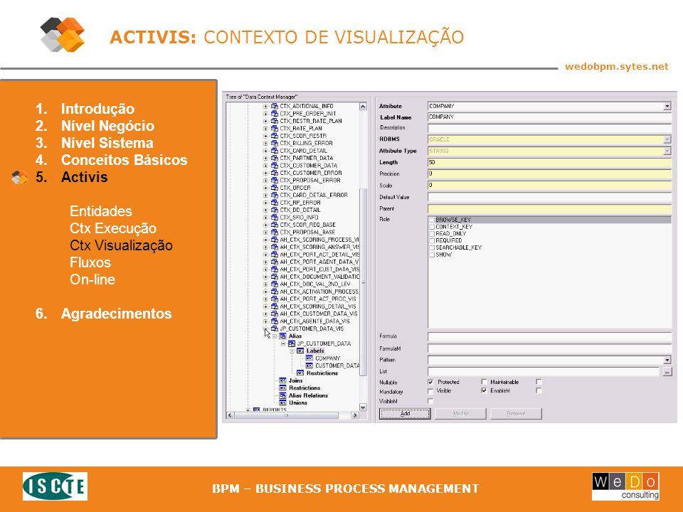 41 wedobpm.sytes.net BPM – BUSINESS PROCESS MANAGEMENT ACTIVIS: CONTEXTO DE VISUALIZAÇÃO 1.Introdução 2.Nível Negócio 3.Nível Sistema 4.Conceitos Básicos 5.Activis Entidades Ctx Execução Ctx Visualização Fluxos On-line 6.Agradecimentos