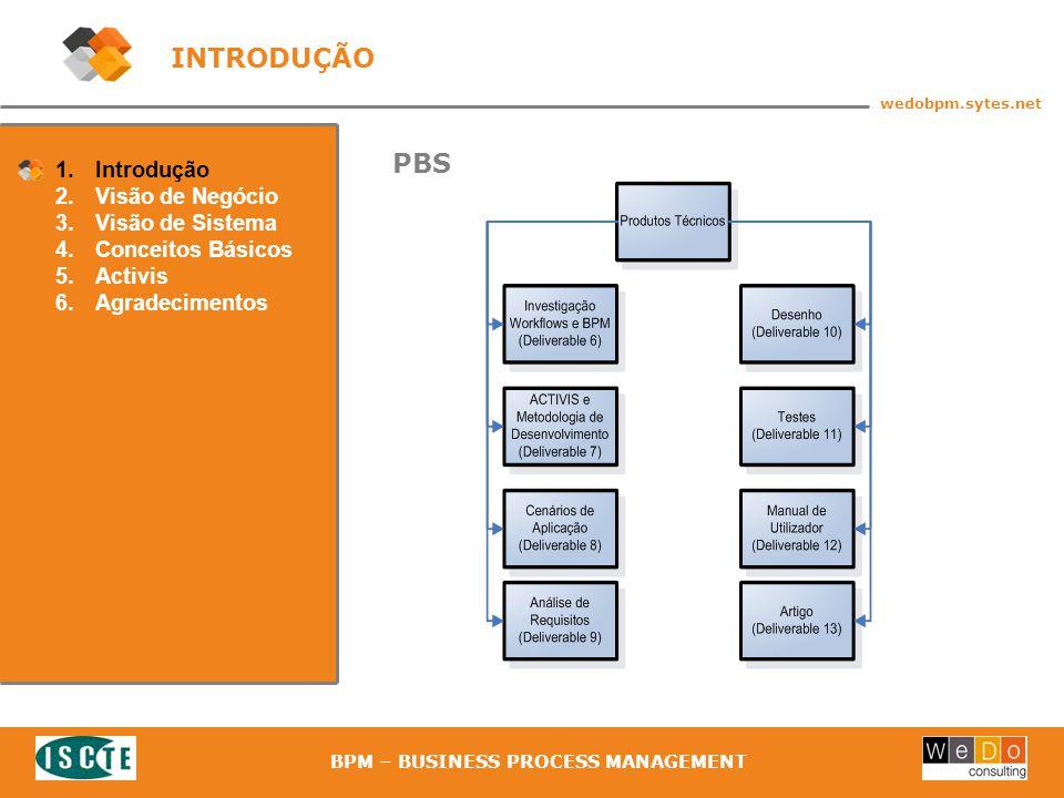 7 wedobpm.sytes.net BPM – BUSINESS PROCESS MANAGEMENT 1.Introdução 2.Visão de Negócio 3.Visão de Sistema 4.Conceitos Básicos 5.Activis 6.Agradecimentos PBS INTRODUÇÃO