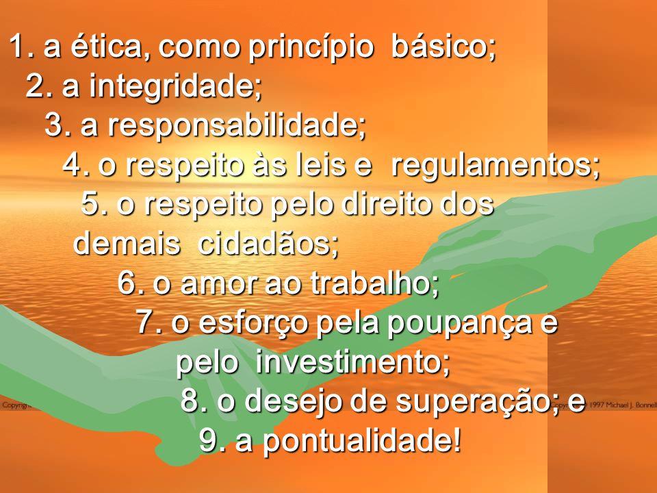 1. a ética, como princípio básico; 2. a integridade; 3.