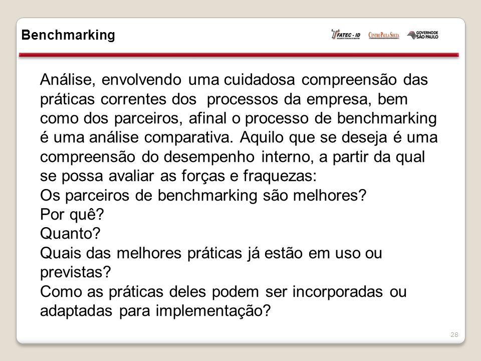 Análise, envolvendo uma cuidadosa compreensão das práticas correntes dos processos da empresa, bem como dos parceiros, afinal o processo de benchmarking é uma análise comparativa.