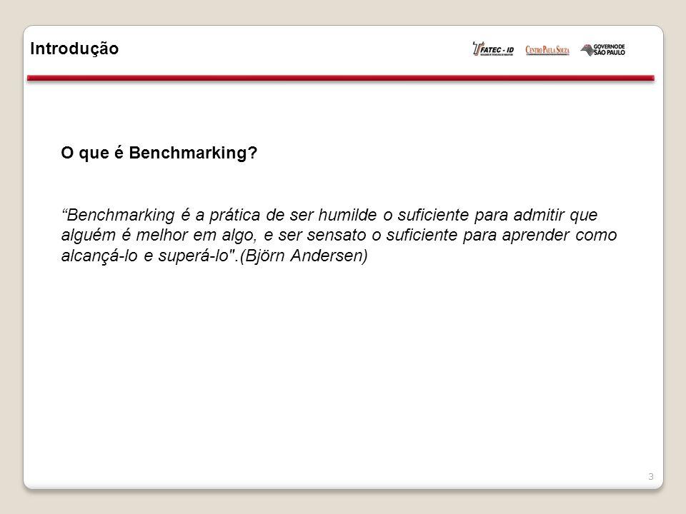 """Introdução 3 O que é Benchmarking? """"Benchmarking é a prática de ser humilde o suficiente para admitir que alguém é melhor em algo, e ser sensato o suf"""