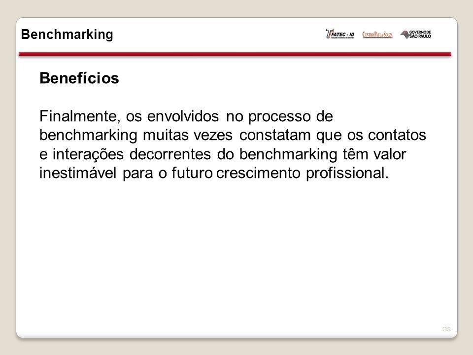 Benefícios Finalmente, os envolvidos no processo de benchmarking muitas vezes constatam que os contatos e interações decorrentes do benchmarking têm v