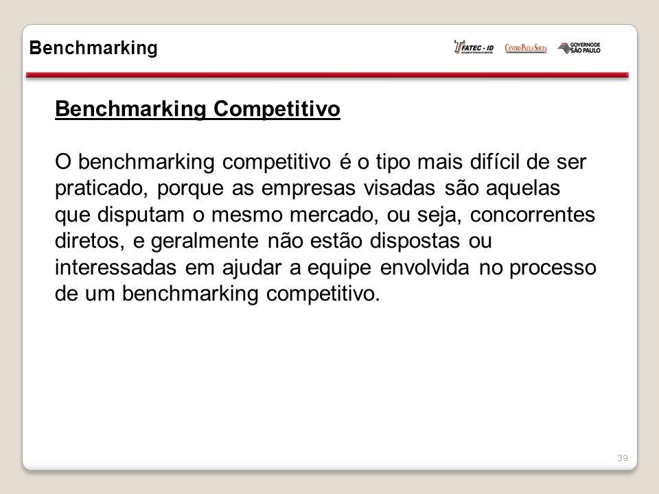 Benchmarking Competitivo O benchmarking competitivo é o tipo mais difícil de ser praticado, porque as empresas visadas são aquelas que disputam o mesmo mercado, ou seja, concorrentes diretos, e geralmente não estão dispostas ou interessadas em ajudar a equipe envolvida no processo de um benchmarking competitivo.