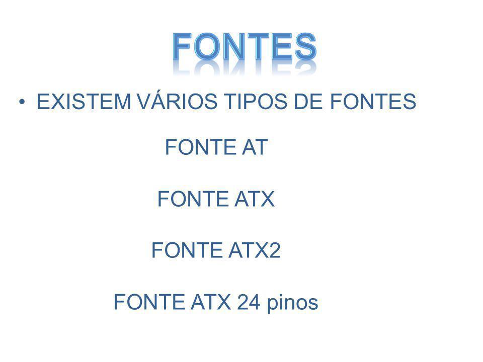 EXISTEM VÁRIOS TIPOS DE FONTES FONTE AT FONTE ATX FONTE ATX2 FONTE ATX 24 pinos