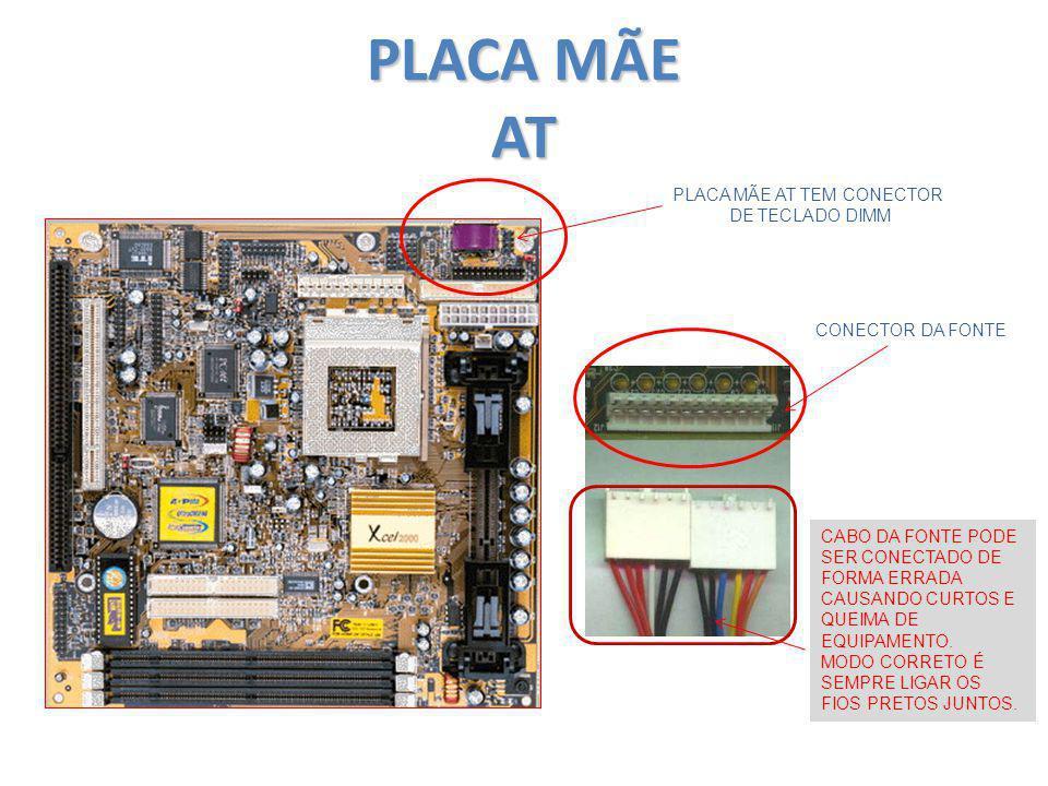 PLACA MÃE AT PLACA MÃE AT TEM CONECTOR DE TECLADO DIMM CONECTOR DA FONTE CABO DA FONTE PODE SER CONECTADO DE FORMA ERRADA CAUSANDO CURTOS E QUEIMA DE
