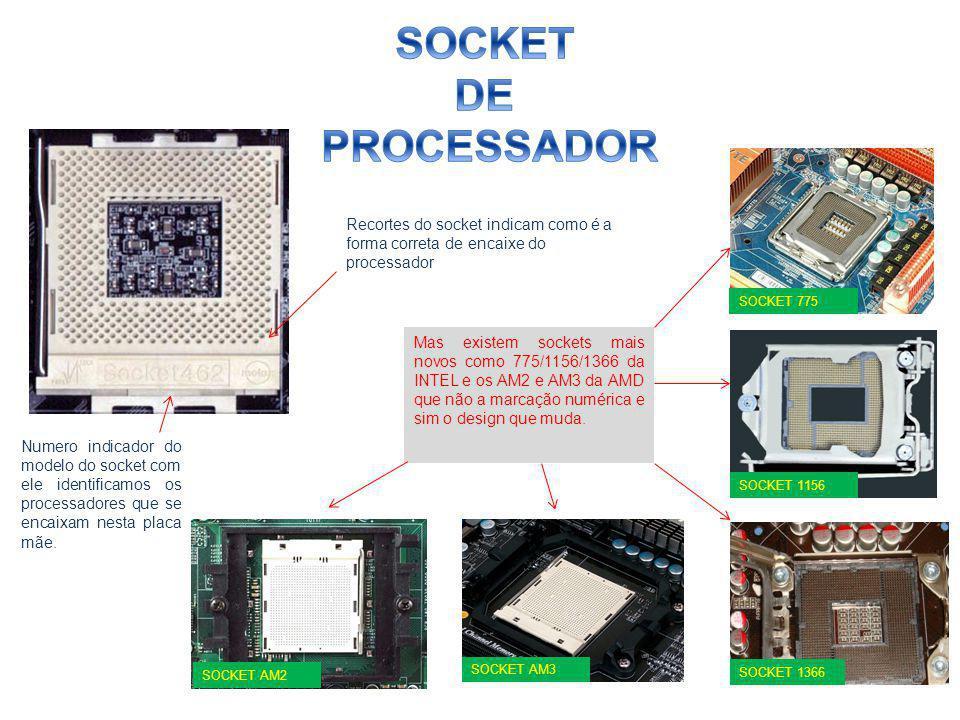 Numero indicador do modelo do socket com ele identificamos os processadores que se encaixam nesta placa mãe. Mas existem sockets mais novos como 775/1
