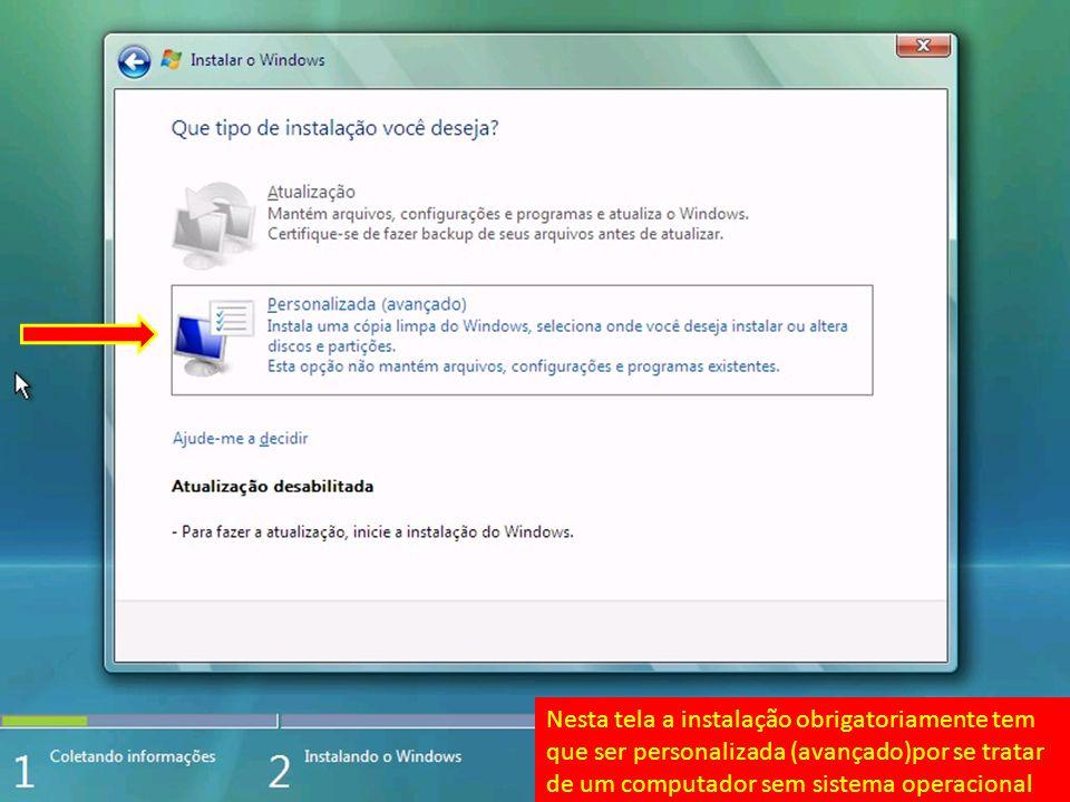 Pronto o Windows Vista está instalado.