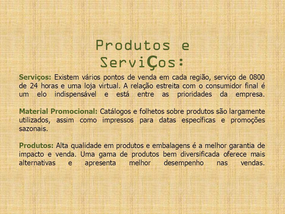 Produtos e ServiÇos: Serviços: Existem vários pontos de venda em cada região, serviço de 0800 de 24 horas e uma loja virtual. A relação estreita com o