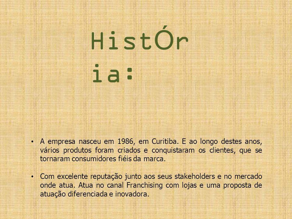 HistÓr ia: A empresa nasceu em 1986, em Curitiba. E ao longo destes anos, vários produtos foram criados e conquistaram os clientes, que se tornaram co