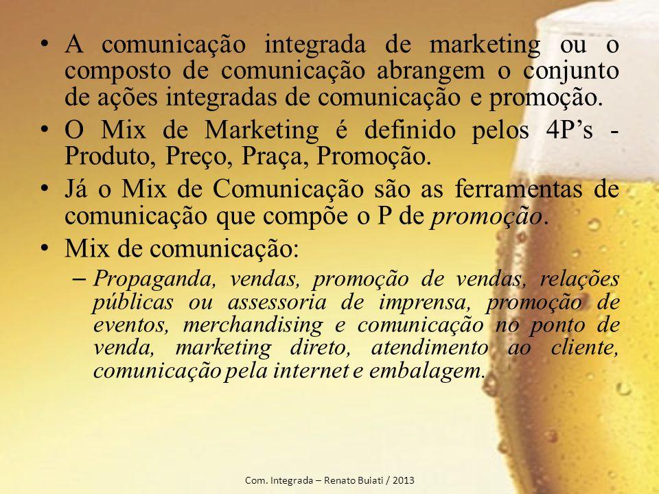 A comunicação integrada de marketing ou o composto de comunicação abrangem o conjunto de ações integradas de comunicação e promoção. O Mix de Marketin