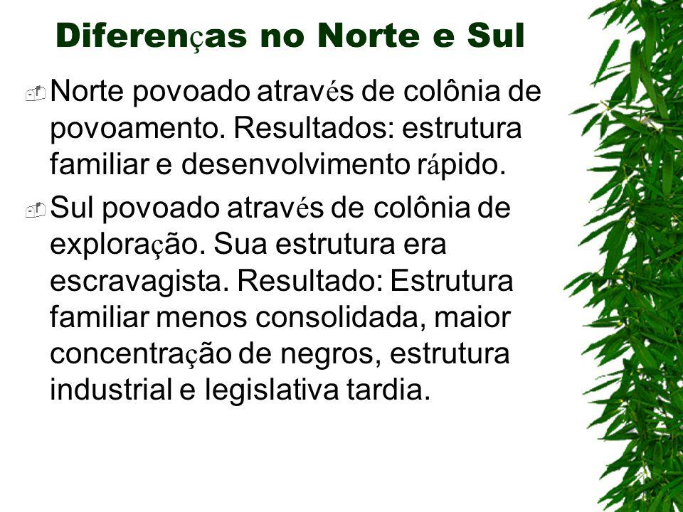 Diferen ç as no Norte e Sul  Norte povoado atrav é s de colônia de povoamento.