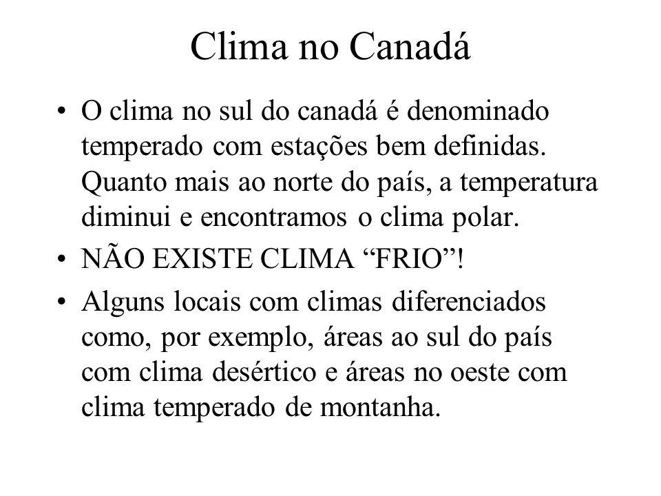 Clima no Canadá O clima no sul do canadá é denominado temperado com estações bem definidas.
