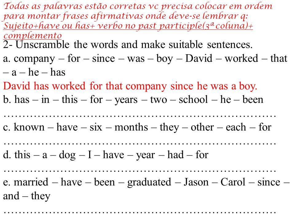 Baseando-se na tabela vc deverá fazer perguntas e respostas usando a formula abaixo do How long observando que não se usará o verbo START-começar, então pega-se o verbo principal que esta com –ing, retira o –ing e passa para o past participle, observe o exemplo.