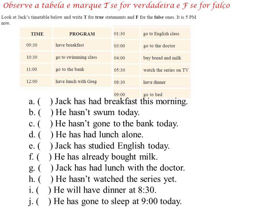 a.( ) Jack has had breakfast this morning. b. ( ) He hasn't swum today.