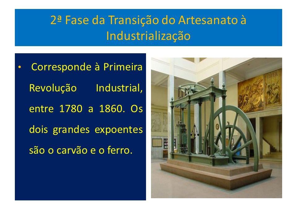 2ª Fase da Transição do Artesanato à Industrialização Corresponde à Primeira Revolução Industrial, entre 1780 a 1860.
