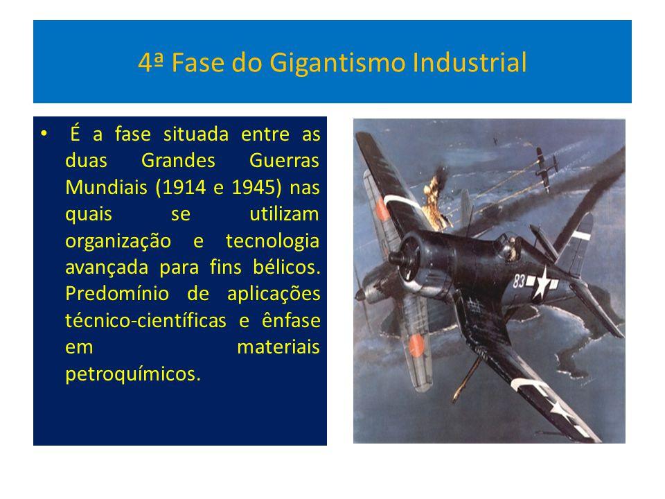 4ª Fase do Gigantismo Industrial É a fase situada entre as duas Grandes Guerras Mundiais (1914 e 1945) nas quais se utilizam organização e tecnologia avançada para fins bélicos.