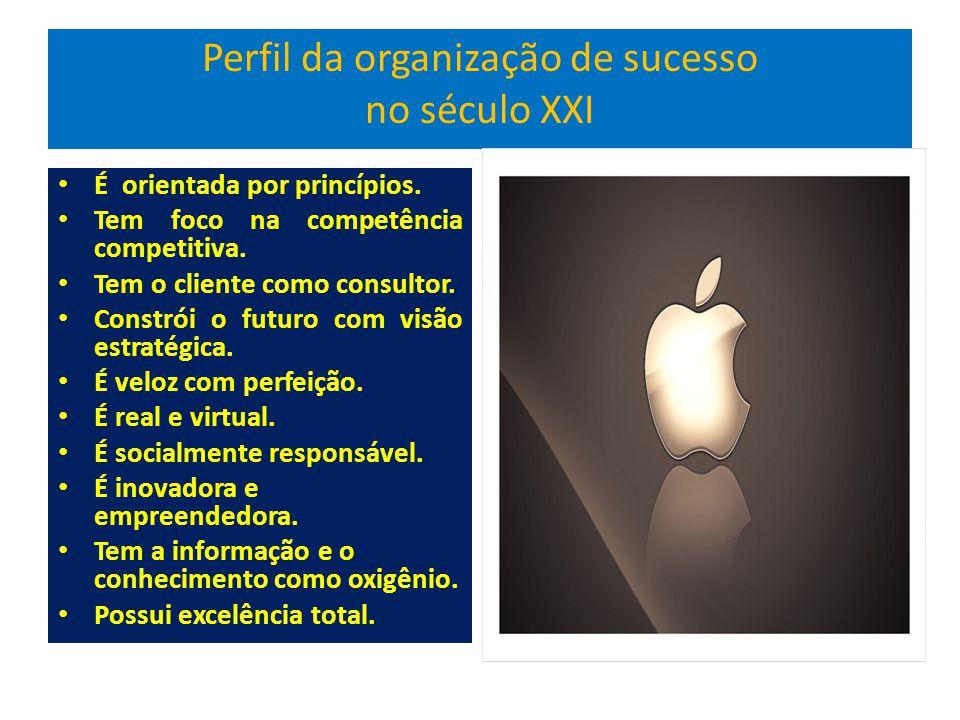 Perfil da organização de sucesso no século XXI É orientada por princípios.
