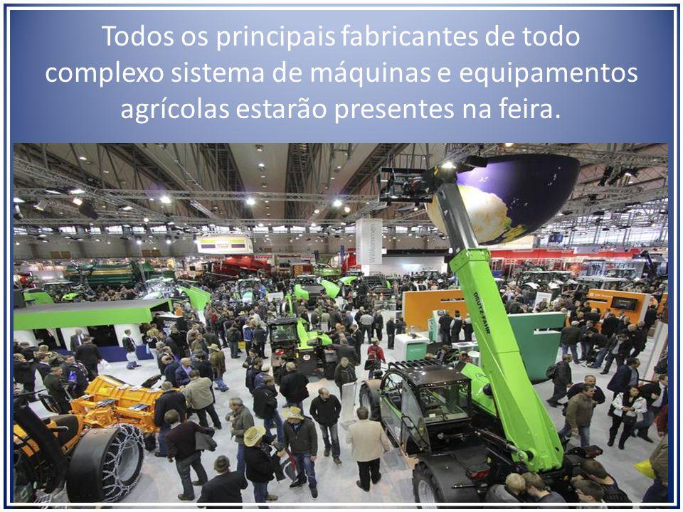 Todos os principais fabricantes de todo complexo sistema de máquinas e equipamentos agrícolas estarão presentes na feira.