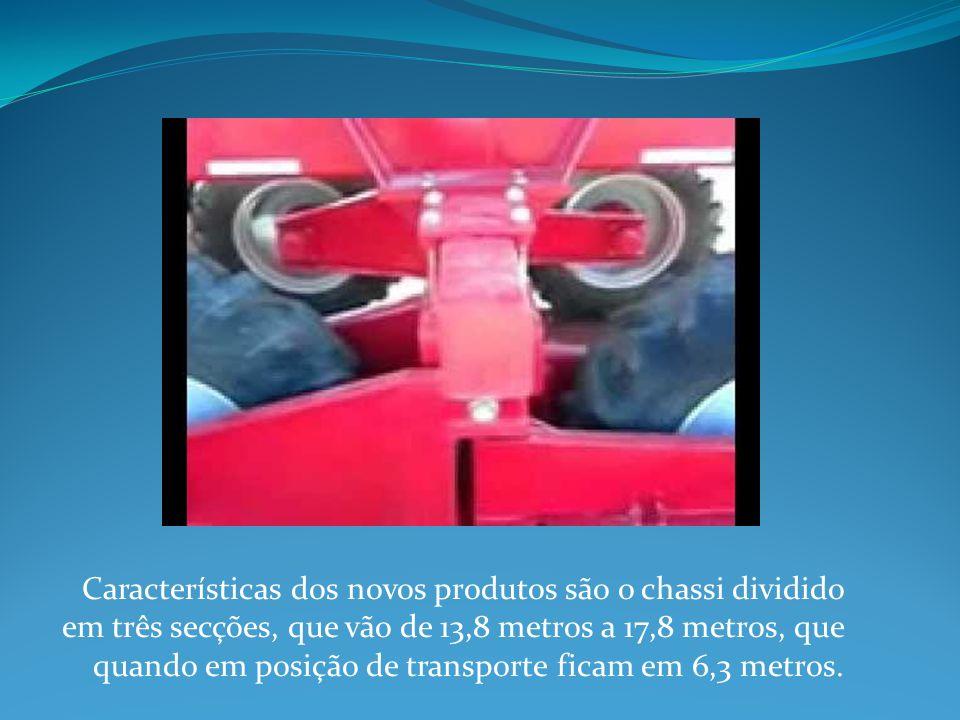 Características dos novos produtos são o chassi dividido em três secções, que vão de 13,8 metros a 17,8 metros, que quando em posição de transporte ficam em 6,3 metros.
