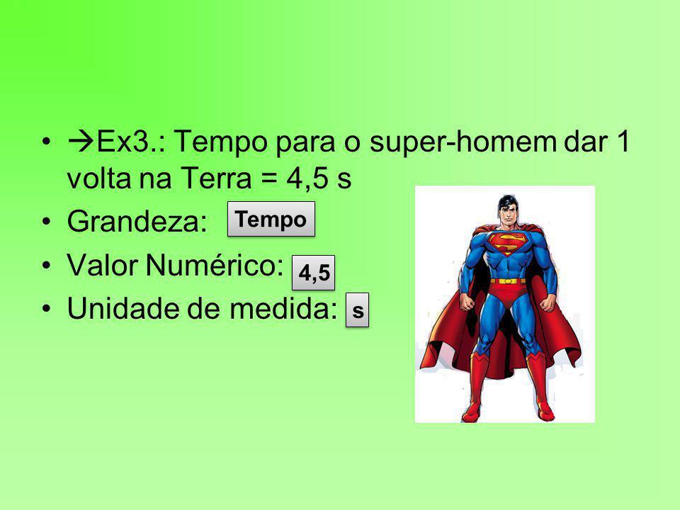  Ex3.: Tempo para o super-homem dar 1 volta na Terra = 4,5 s Grandeza: Valor Numérico: Unidade de medida: Tempo 4,5 s s