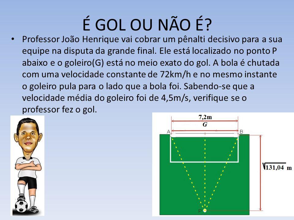 É GOL OU NÃO É? Professor João Henrique vai cobrar um pênalti decisivo para a sua equipe na disputa da grande final. Ele está localizado no ponto P ab