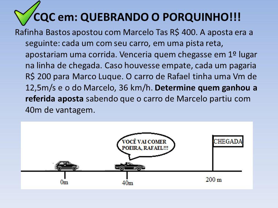 CQC em: QUEBRANDO O PORQUINHO!!! Rafinha Bastos apostou com Marcelo Tas R$ 400. A aposta era a seguinte: cada um com seu carro, em uma pista reta, apo