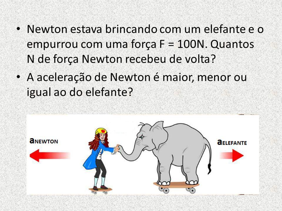 Newton estava brincando com um elefante e o empurrou com uma força F = 100N.