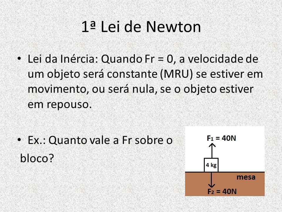1ª Lei de Newton Lei da Inércia: Quando Fr = 0, a velocidade de um objeto será constante (MRU) se estiver em movimento, ou será nula, se o objeto estiver em repouso.