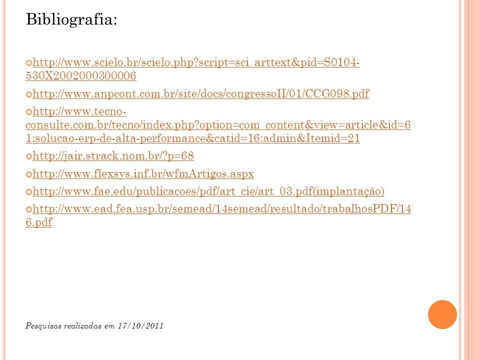 Bibliografia: http://www.scielo.br/scielo.php?script=sci_arttext&pid=S0104- 530X2002000300006 http://www.anpcont.com.br/site/docs/congressoII/01/CCG098.pdf http://www.tecno- consulte.com.br/tecno/index.php?option=com_content&view=article&id=6 1:solucao-erp-de-alta-performance&catid=16:admin&Itemid=21 http://jair.strack.nom.br/?p=68 http://www.flexsys.inf.br/wfmArtigos.aspx http://www.fae.edu/publicacoes/pdf/art_cie/art_03.pdf(implantação) http://www.ead.fea.usp.br/semead/14semead/resultado/trabalhosPDF/14 6.pdf Pesquisas realizadas em 17/10/2011