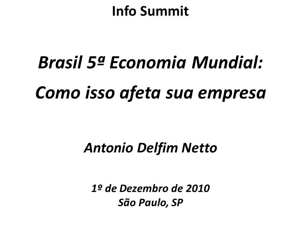 Antonio Delfim Netto 1º de Dezembro de 2010 São Paulo, SP Brasil 5ª Economia Mundial: Como isso afeta sua empresa Info Summit