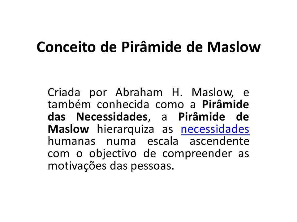 Conceito de Pirâmide de Maslow Criada por Abraham H. Maslow, e também conhecida como a Pirâmide das Necessidades, a Pirâmide de Maslow hierarquiza as