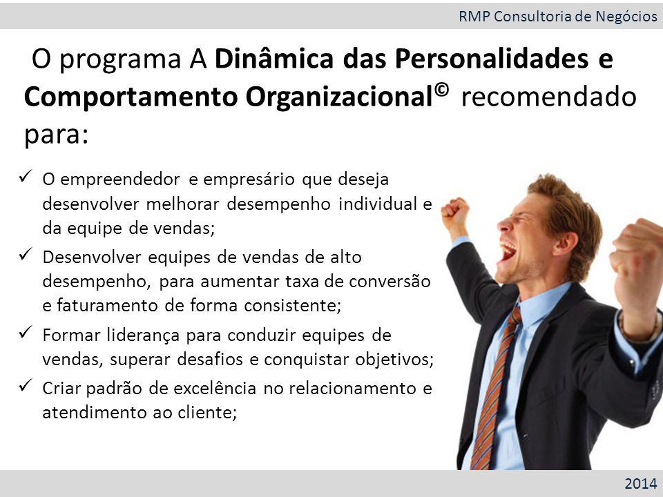 O empreendedor e empresário que deseja desenvolver melhorar desempenho individual e da equipe de vendas; Desenvolver equipes de vendas de alto desempe
