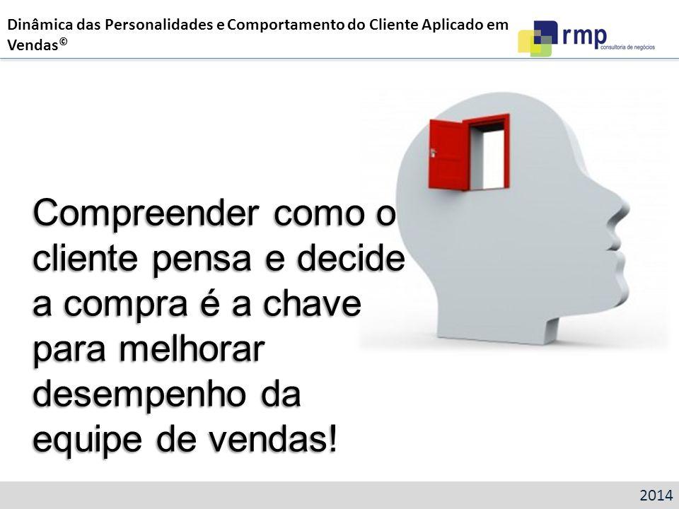 Compreender como o cliente pensa e decide a compra é a chave para melhorar desempenho da equipe de vendas! 2014 Dinâmica das Personalidades e Comporta