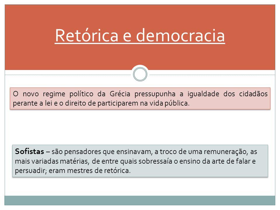 Retórica e democracia O novo regime político da Grécia pressupunha a igualdade dos cidadãos perante a lei e o direito de participarem na vida pública.