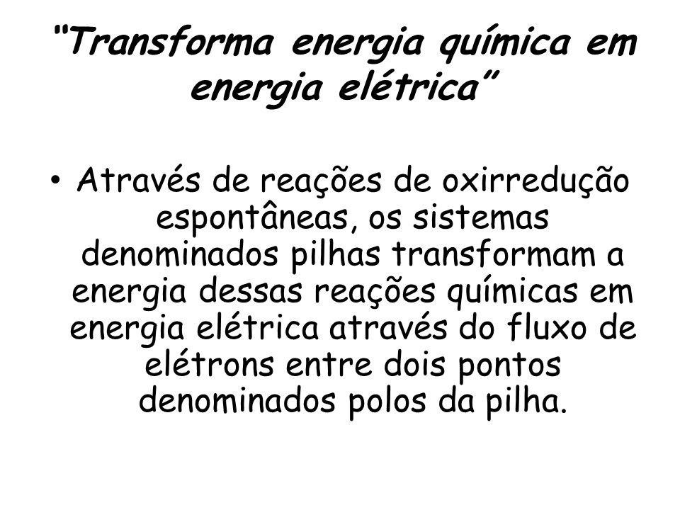 """""""Transforma energia química em energia elétrica"""" Através de reações de oxirredução espontâneas, os sistemas denominados pilhas transformam a energia d"""