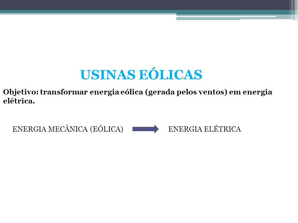 USINAS EÓLICAS Objetivo: transformar energia eólica (gerada pelos ventos) em energia elétrica. ENERGIA MECÂNICA (EÓLICA)ENERGIA ELÉTRICA